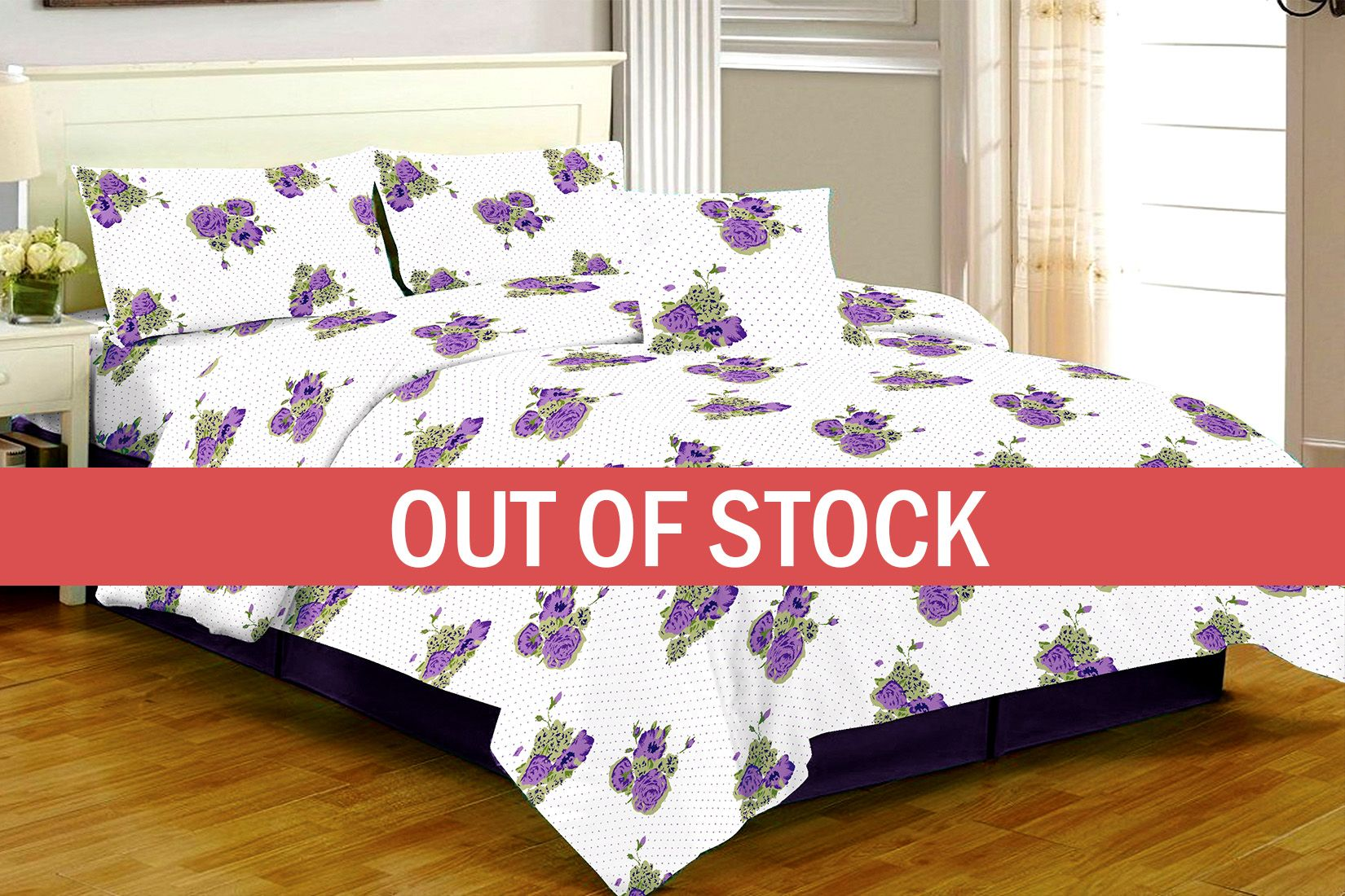 White Base Purple Flower Dotted Print Double Bed Sheet