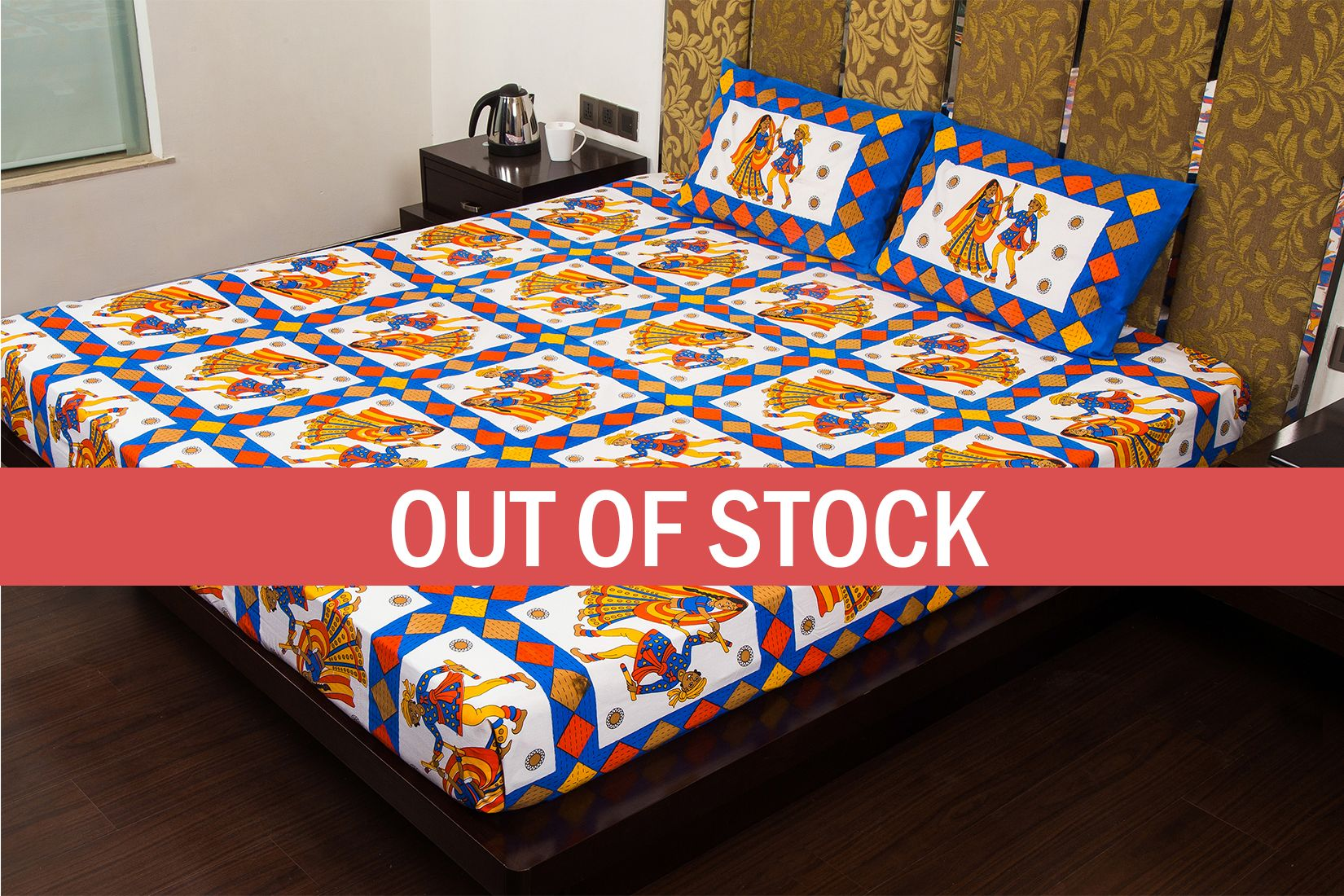 Blue Base Jaipuri Folk Dance Cotton Double Bed Sheet