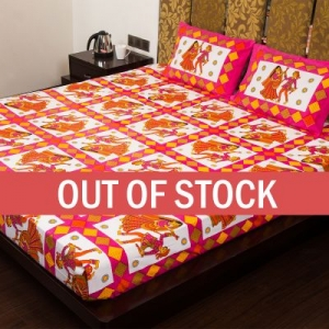 Pink Base Jaipuri Folk Dance Cotton Double Bed Sheet