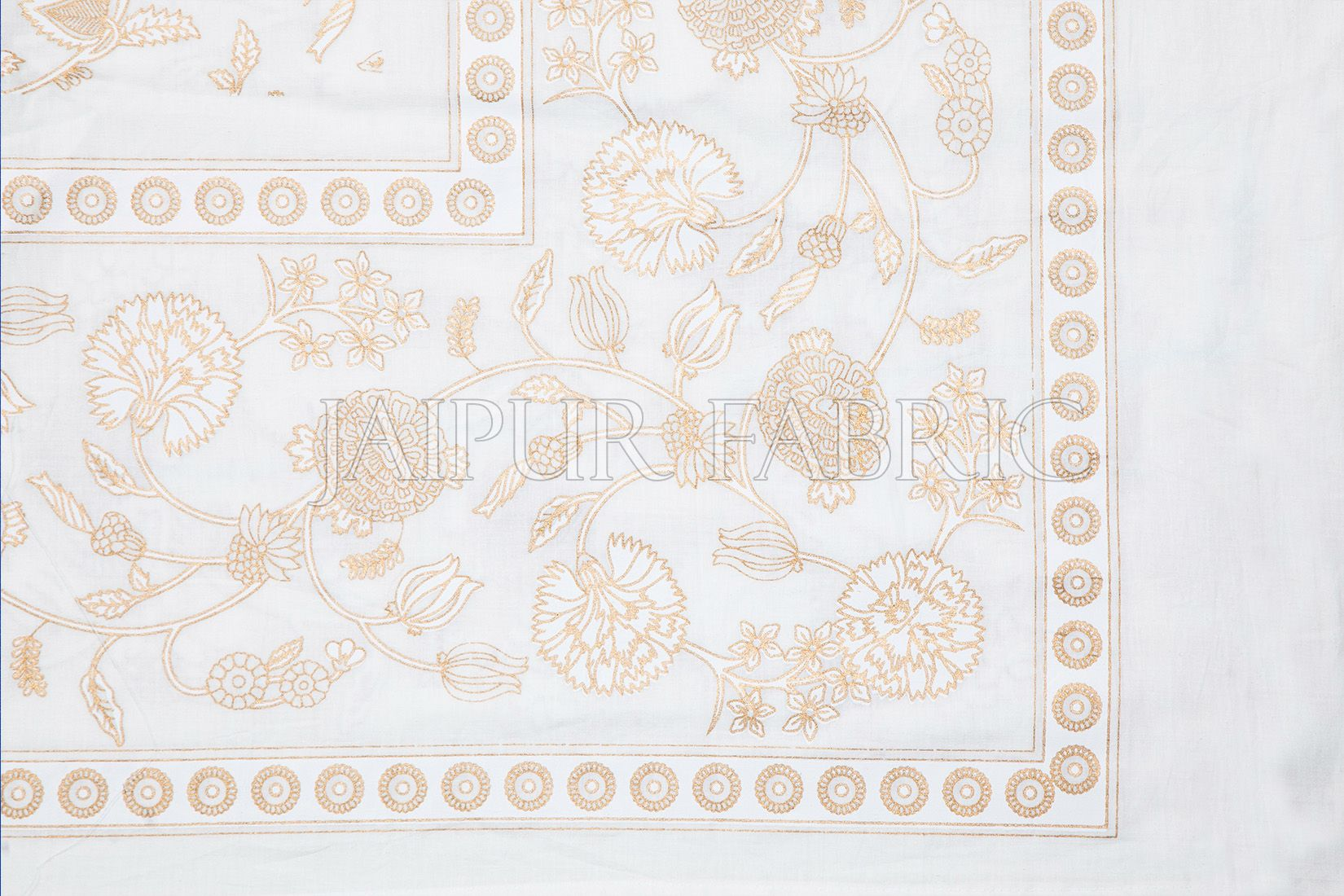 Royal Floral Golden Print White Base Double Bed Quilt