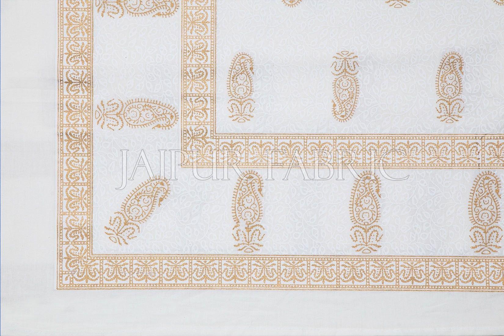 Royal Tropical Golden Print White Base Double Bed Quilt
