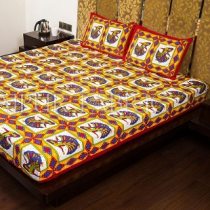 Red Jaipuri Ghoomar Dance Print Cotton Double Bed Sheet
