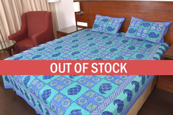 Keri Print  Bice Color Base with Blue Shade Double Bed Sheet