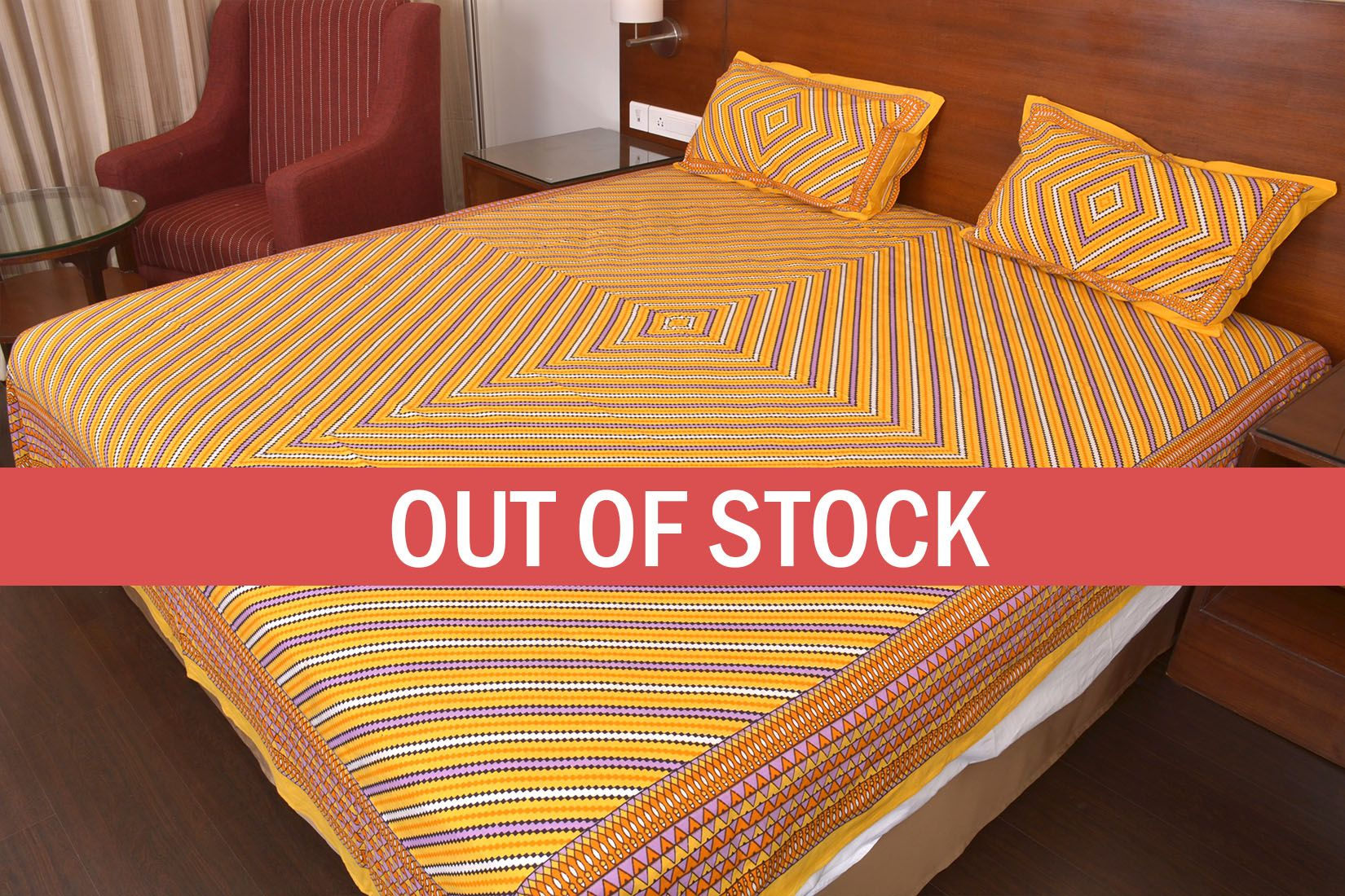 Yellow Zick Zack Print Double Bed Sheet