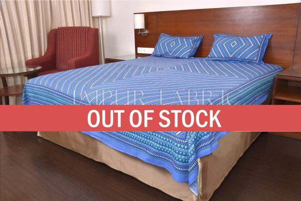 Blue Zick Zack Print Double Bed Sheet