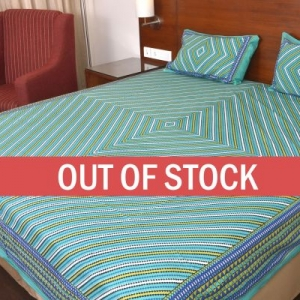 Green Zick Zack Print Double Bed Sheet