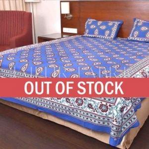 Blue Color Jaipuri Paan Patti Print Double Bed Sheet