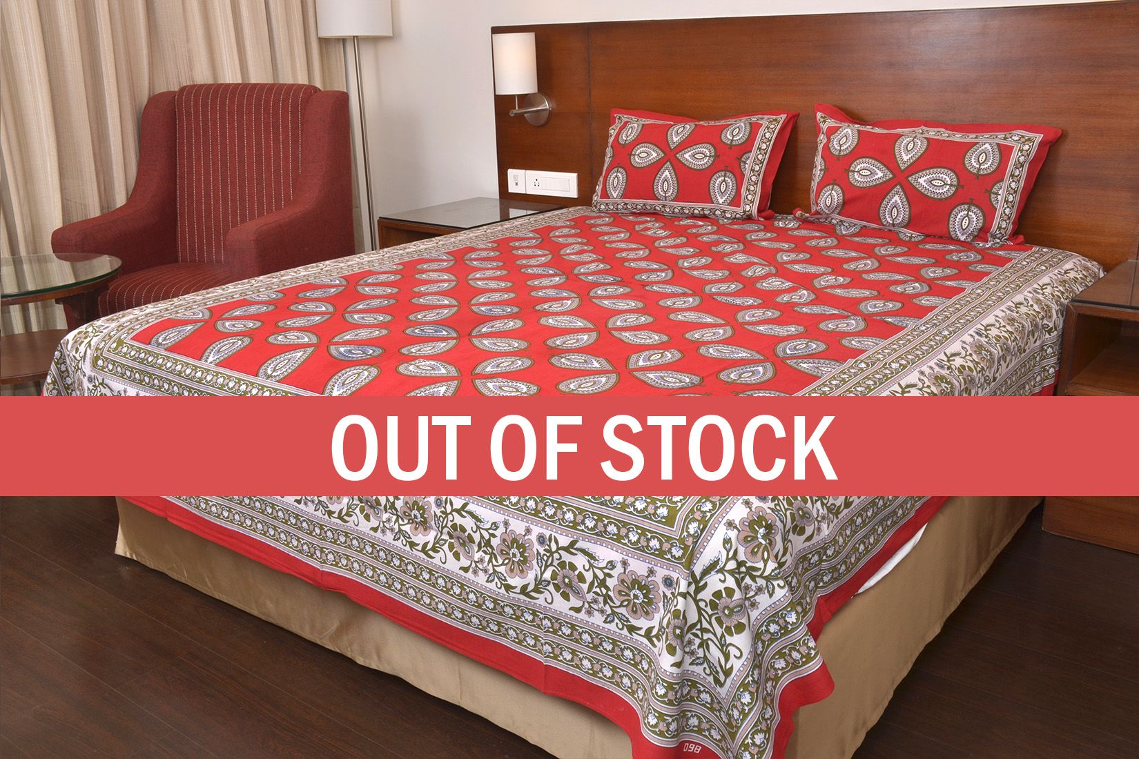 Red Color Jaipuri Paan Patti Print Double Bed Sheet