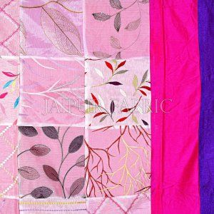 Magenta And Purple Border Gray Tisue Tukdi With Embroidery Silk Double Bedsheet