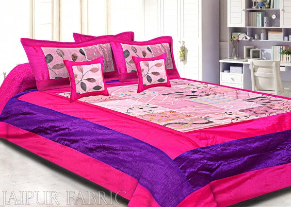 Magenta And Purple Border Pink  Tisue Tukdi With Embroidery Silk Double Bedsheet