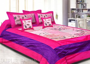 Magenta And Purple Border  Tisue Tukdi With Embroidery Silk Double Bedsheet