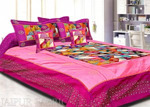 Magenta And Pink Border Triangle Tukdi Pattern Silk Double Bedsheet