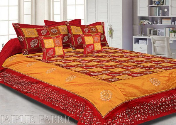 Maroon And Rust  Chess Gold Patten  With Golden Print Silk Double Bedsheet
