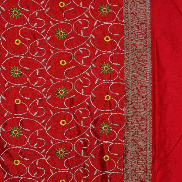Radish Maroon Base Computer Emboirdery With Zari Border Silk Double Bedsheet