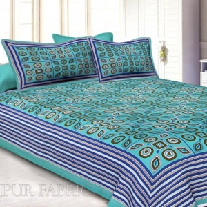 Blue Border Blue Base Multi Shape Pattern Screen Print Cotton Double Bed Sheet