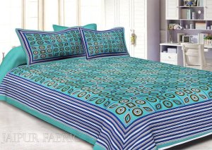 Wholesale Blue Border Blue Base Multi Shape Pattern Screen Print Cotton Double Bed Sheet