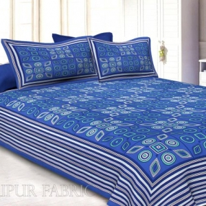 Royal Blue Border Royal Blue Base Multi Shape Pattern Screen Print Cotton Double Bed Sheet
