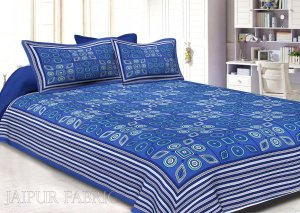 Wholesale Royal Blue Border Royal Blue Base Multi Shape Pattern Screen Print Cotton Double Bed Sheet