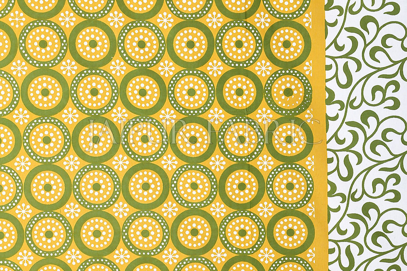 Yellow Border White Base Circle Pattern Screen Print Cotton Double Bed Sheet