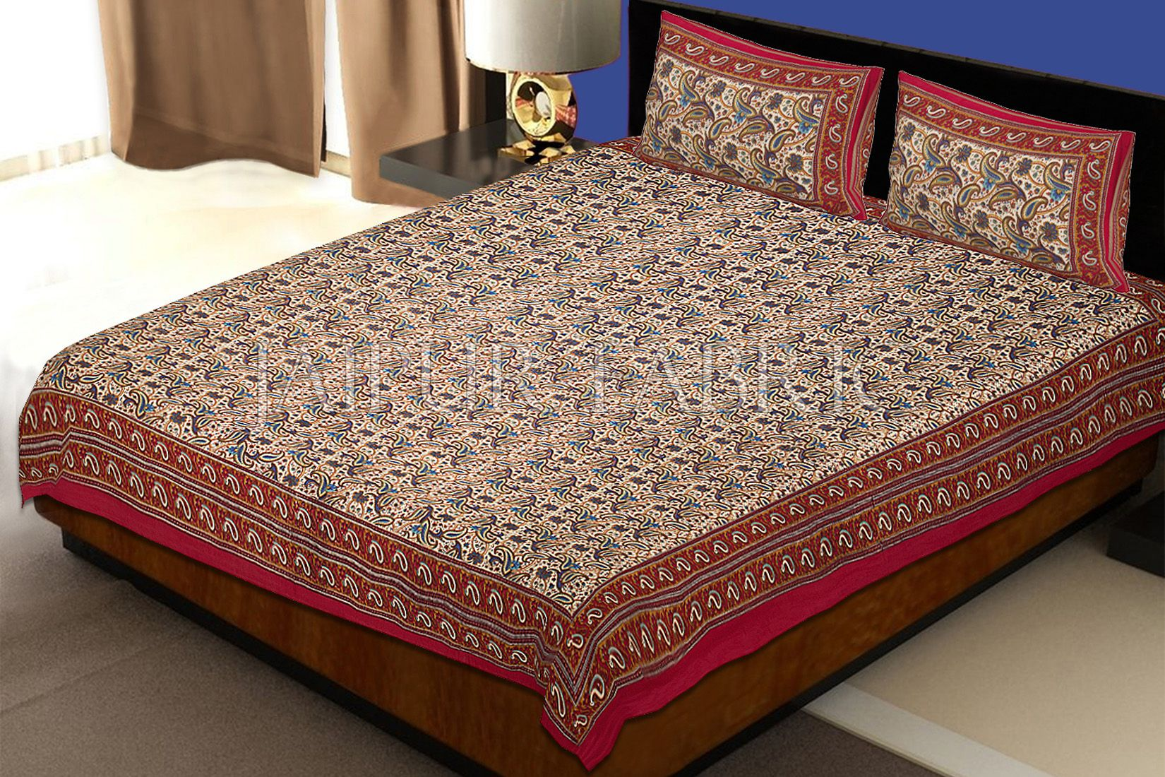 Maroon Border Leaf Pattern Screen Print Cotton Double Bed Sheet