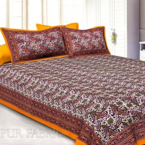 Dark Orange Border Floral Pattern Screen Print Cotton Double Bed Sheet