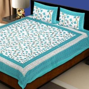 Light Sea Green  Border Grapes Pattern Screen Print Cotton Double Bed Sheet