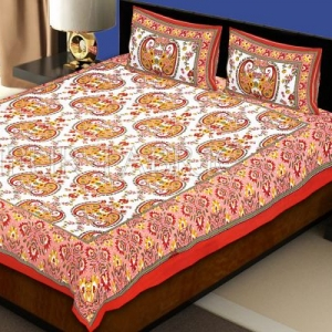 Red Border Multi Color Floral Pattern Screen Print Cotton Double Bed Sheet