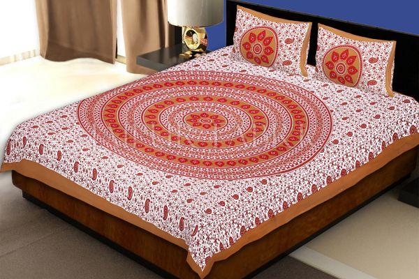 Brown Border White Base Paan Pattern Screen Print Cotton Double Bed Sheet