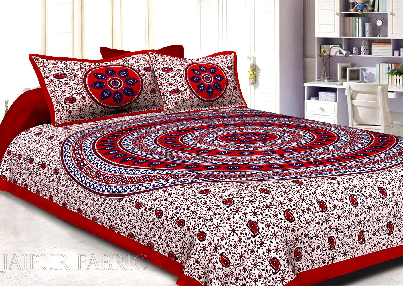 Maroon Border White Base Paan Pattern Screen Print Cotton Double Bed Sheet