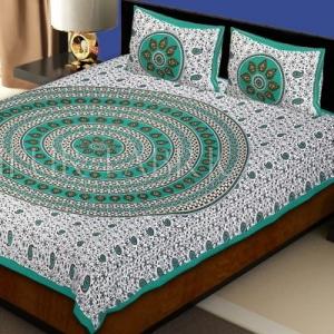 Sea Green Border White Base Paan Pattern Screen Print Cotton Double Bed Sheet
