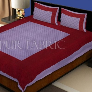 Purple Border Maroon Base Leaf Pattern Screen Print Cotton Double Bed Sheet