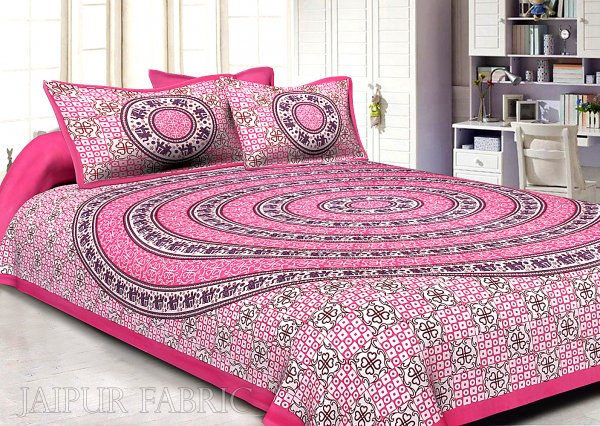 Hot Pink Border Circle Elephant Pattern Screen Print Cotton Double Bed Sheet