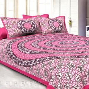 Hot Pink Border Circle Elephant Pattern Screen Print Cotton Double Bed Sheet