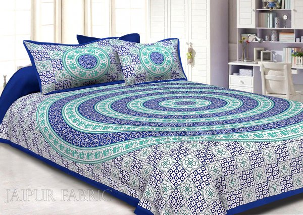 Navy Blue Border Circle Elephant Pattern Screen Print Cotton Double Bed Sheet