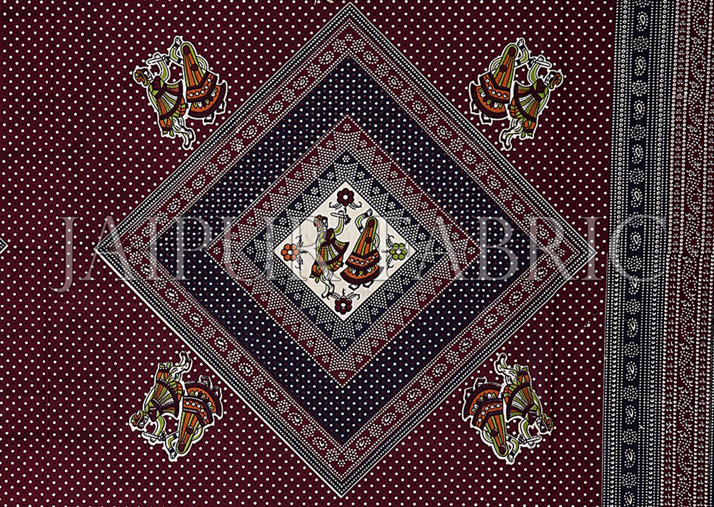 Cream White Border Brown Base Dancing Couple Pattern Screen Print Cotton Double Bed Sheet