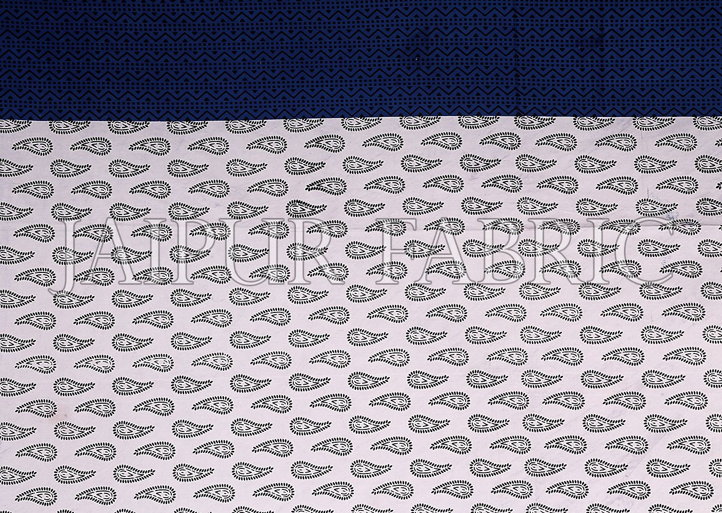Navy Blue Border White Base Floral Pattern Screen Print Cotton Double Bed Sheet