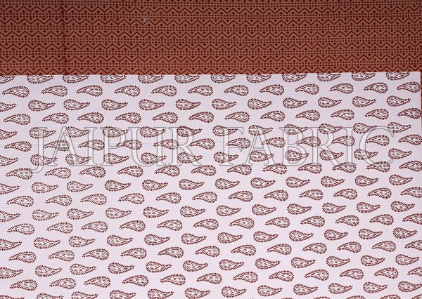 Brown Border Brown Base Dancing Couple Pattern Screen Print Cotton Double Bed Sheet
