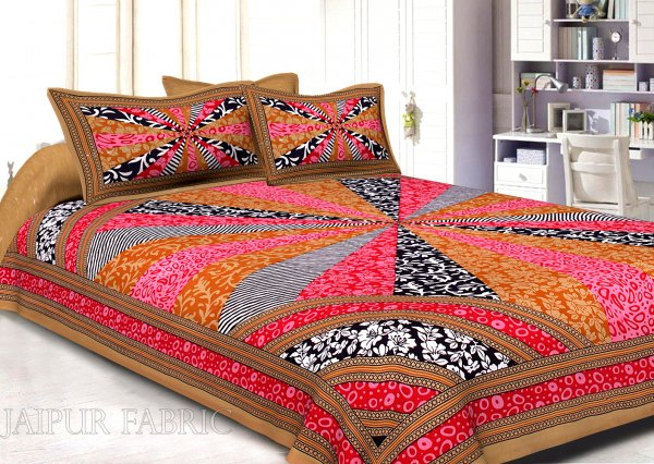 Brown Border Multi Pattern Screen Print Cotton Double Bed Sheet