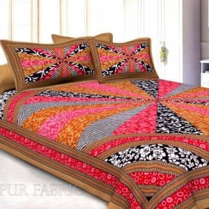 Brown Border Multi Pattern Screen Print Cotton Double Bed Sheet