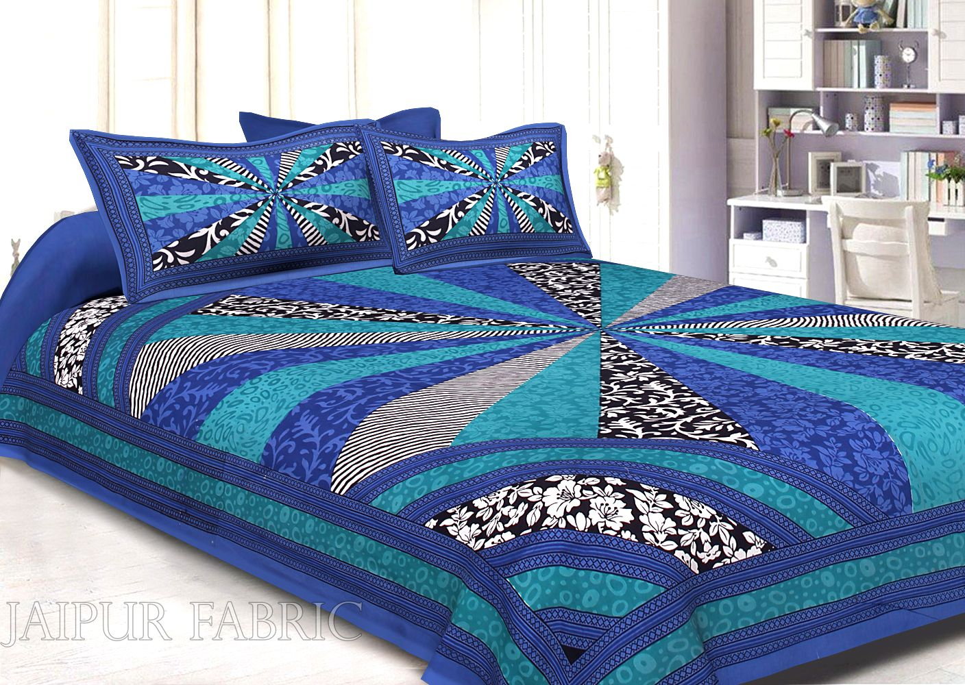 Blue Border Multi Pattern Screen Print Cotton Double Bed Sheet
