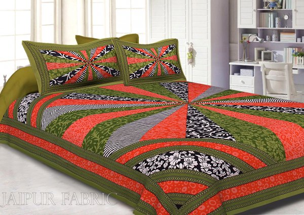 Green Border Multi Pattern Screen Print Cotton Double Bed Sheet