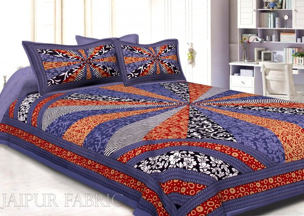 Indigo Border Multi Pattern Screen Print Cotton Double Bed Sheet