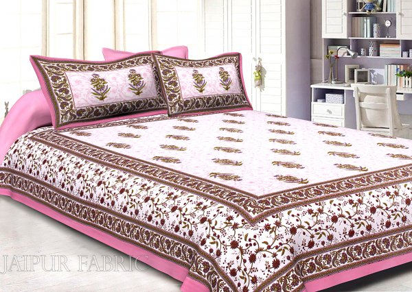 Pink Border White Base Flower & Leaf Pattern Screen Print Cotton Double Bed Sheet