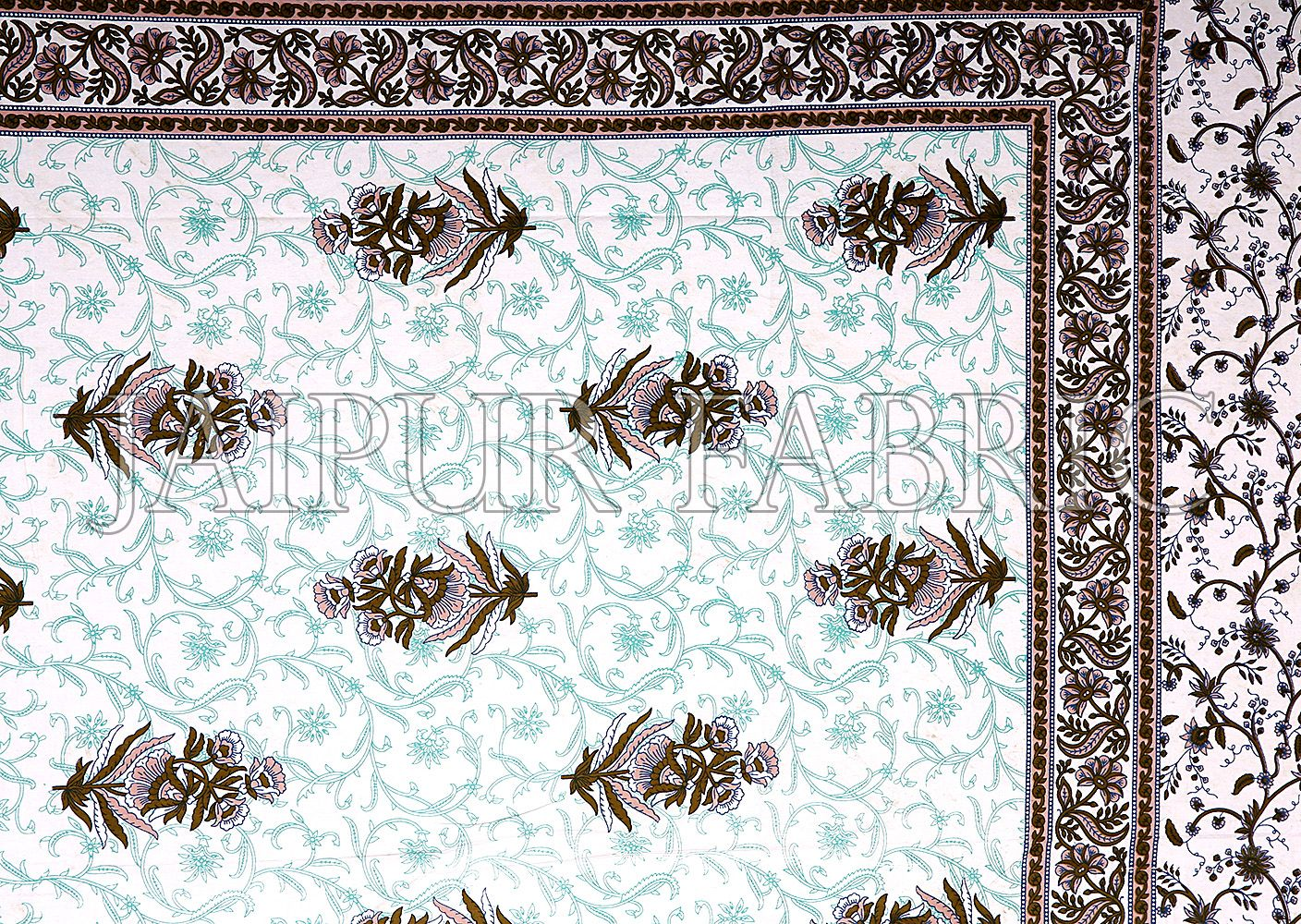 Sea Green Border White Base Flower & Leaf Pattern Screen Print Cotton Double Bed Sheet