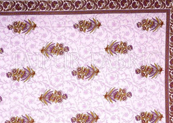 Purple  Border White Base Flower & Leaf Pattern Screen Print Cotton Double Bed Sheet