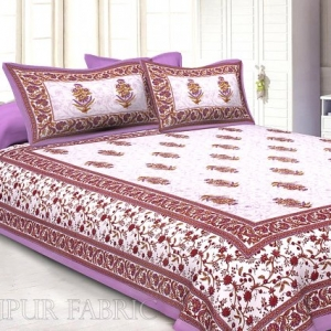 Purple  Border White Base Flower & Leaf Pattern Screen Print Cotton Double Bed Sheet