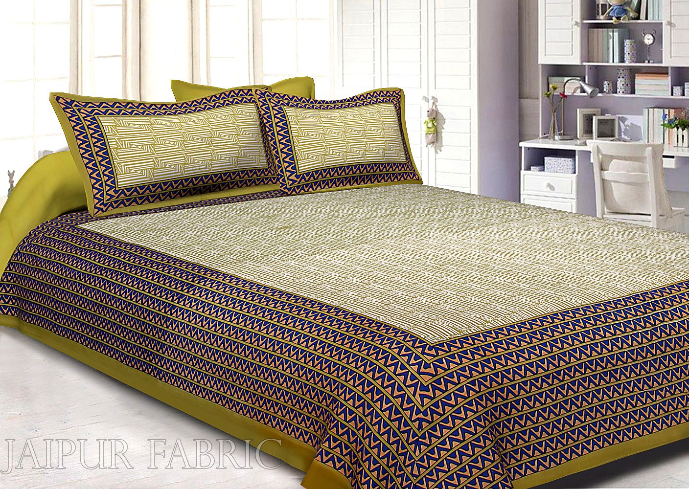 Olive Border White Base Zig Zag  Pattern Screen Print Cotton Double Bed Sheet