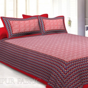 Maroon Border Zig Zag  Pattern Screen Print Cotton Double Bed Sheet