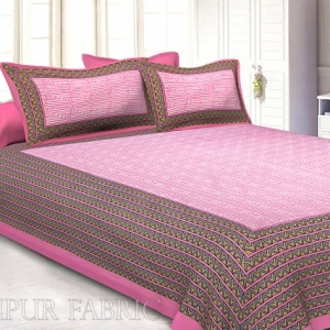 Pink Border Zig Zag  Pattern Screen Print Cotton Double Bed Sheet