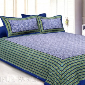 Navy Blue Border Zig Zag  Pattern Screen Print Cotton Double Bed Sheet